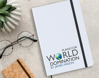 Personalised notebook gift idea for him or her, Plans for World Domination, A5 planner journal note book - NA5W-DOM