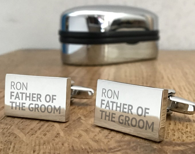 Engraved FATHER of the GROOM cufflinks, personalised groomsmen cuff links, choice of cufflink box - REP2