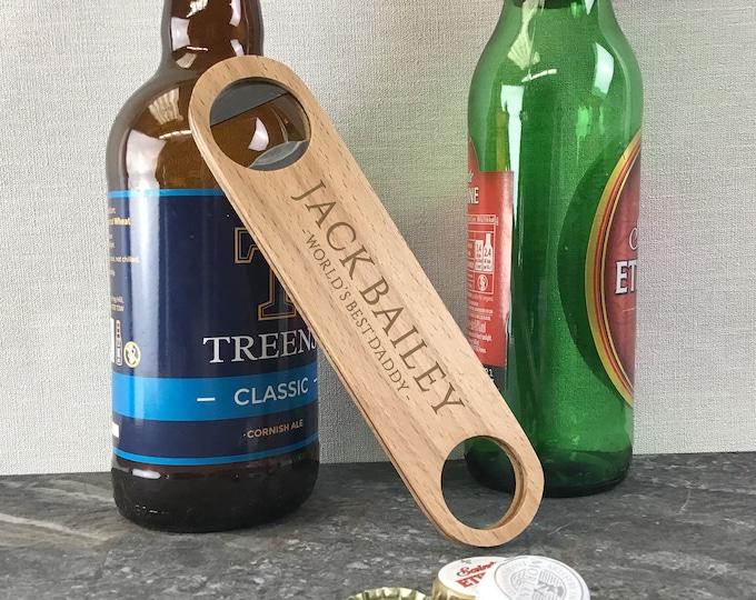 Beer bottle opener gift, laser engraved personalised bar blade gift for dad, daddy, uncle, grandad, godfather, brother - WBL-BS