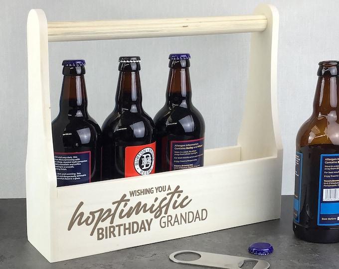 Personalised wooden beer caddy birthday gift. Laser engraved beer lover gift idea, beer bottle holder. Hoptimistic LBC-1
