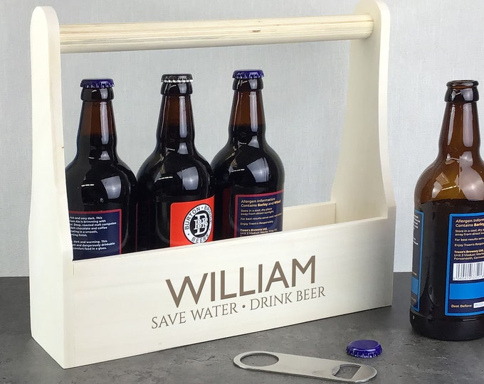 Personalised wooden beer caddy gift. Laser engraved beer lover gift idea, beer bottle holder. Save water, drink beer LBC-3