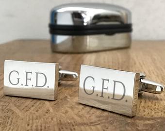 Engraved MONOGRAM CUFFLINKS initials monogrammed gift for him - REM1
