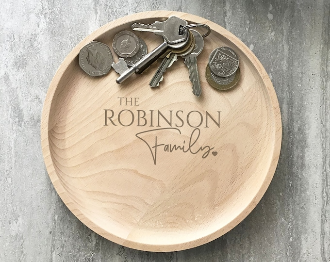 Engraved wood valet tray, Family gift, wood wedding anniversary coin key trinket accessory tray, home decor RVA-3