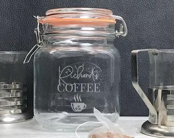 Engraved coffee jar, glass Kilner storage jar gift idea, coffee storage - KJAR-3