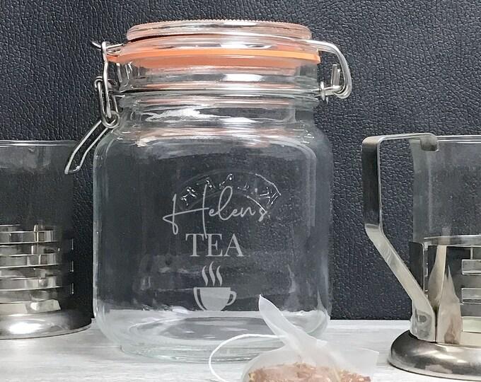 Engraved tea jar, glass Kilner storage jar gift idea, loose leaf and tea bag storage - KJAR-4