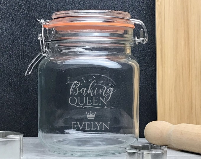 Engraved glass Kilner storage jar gift idea, Baking Queen, sweet jar, baking gift - KJAR-7