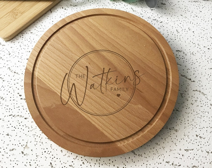 Personalised family anniversary kitchen gift, beech wood chopping board, bread board kitchen gift idea CHP5
