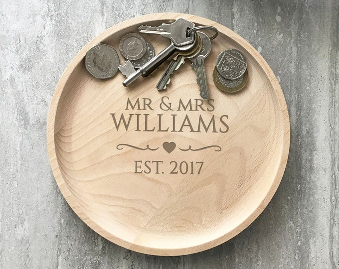 Engraved wood valet tray, Couples Mr & Mrs gift, 5th wedding anniversary coin key trinket accessory tray, home decor RVA-1