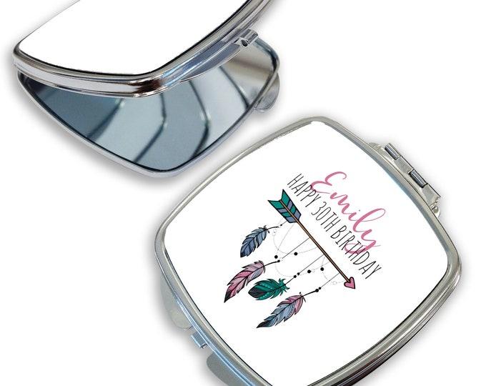 Personalised 30TH BIRTHDAY gift, compact mirror, makeup mirror, handbag mirror, pocket mirror - DSQ-BOH30