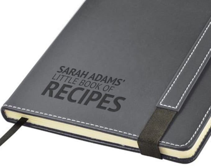 Engraved leather PU notebook journal personalised gift idea, BOOK of RECIPES cookery cooks chefs note book - 1875-LN8