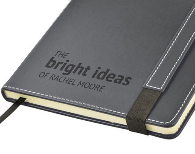 Engraved leather notebook journal gift, personalised gift idea, The BRIGHT IDEAS of note book - 1875-LN7