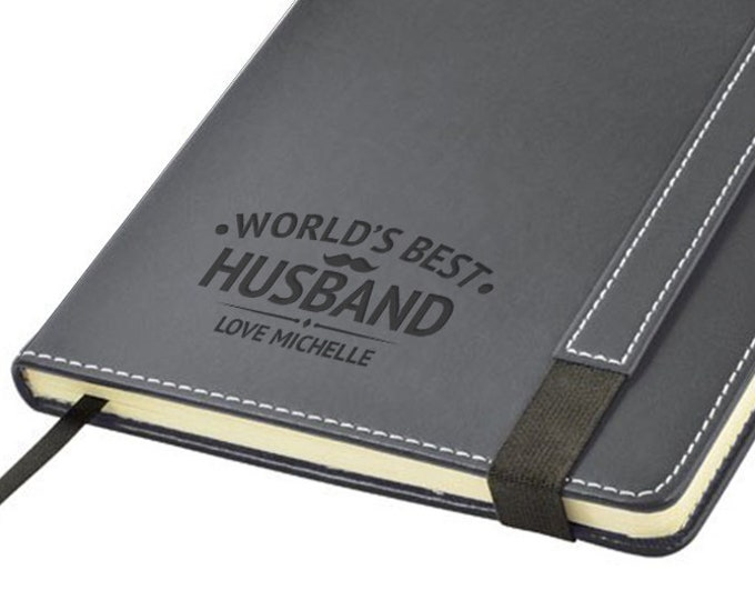 Engraved leather PU notebook journal personalised gift idea, World's Best HUSBAND note book - 1875-LN18