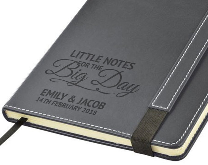 Engraved leather PU notebook journal personalised gift idea, Wedding planner planning Little Notes for the Big Day note book - 1875-WD1