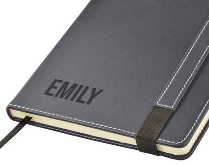 Engraved leather PU notebook journal personalised gift idea, Name monogram monogrammed note book - 1875-NM
