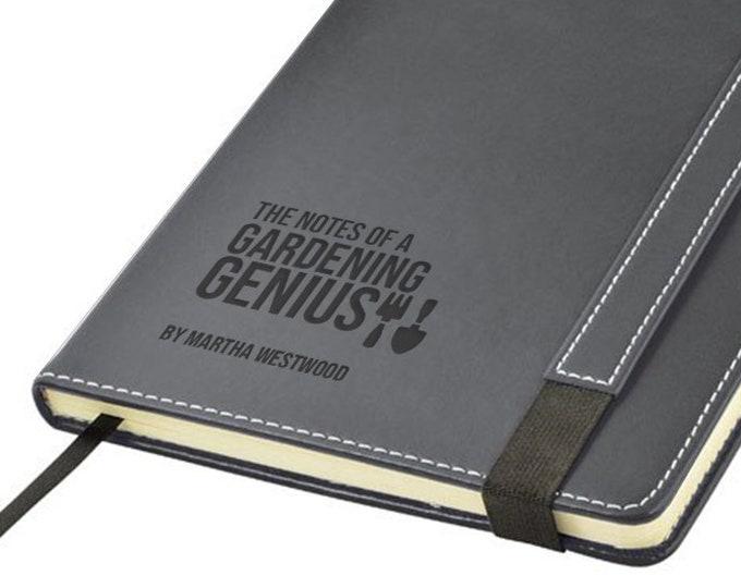 Engraved leather notebook gardening gift, personalised allotment journal gift idea, Gardening gardener allotment genius note book - 1875-GAR