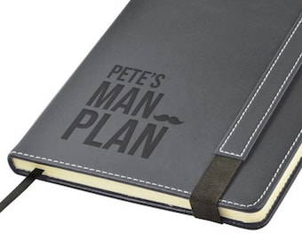 Engraved leather PU notebook journal personalised gift idea, Man Plan daddy grandad uncle godfather note book - 1875-MAN