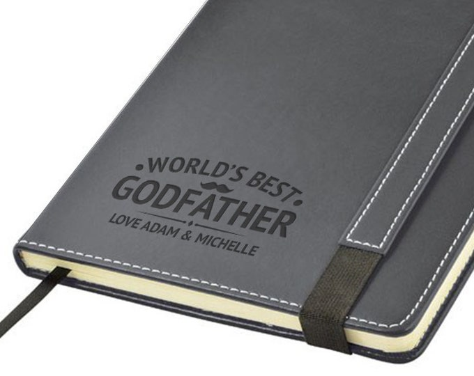 Engraved leather PU notebook journal personalised gift idea, Worlds' Best GODFATHER note book - 1875-LN16