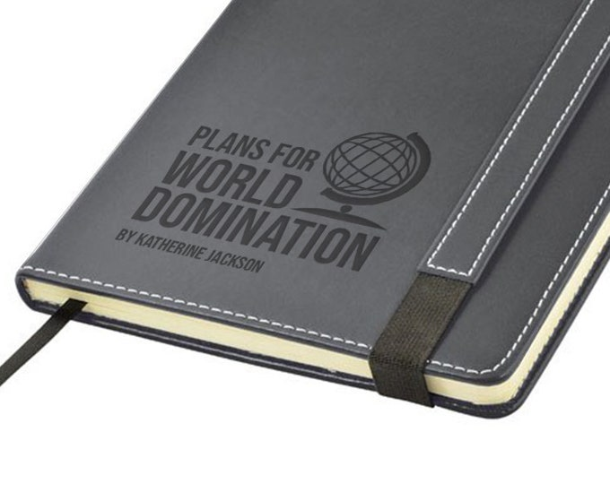Engraved leather notebook journal gift, Plans for World Domination personalised note book - 1875-DOM