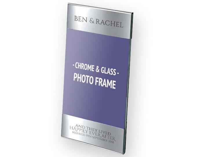 "Personalised engraved wedding anniversary photo frame gift, polished aluminium & glass, 4 x 6"" - 9609-COU1"