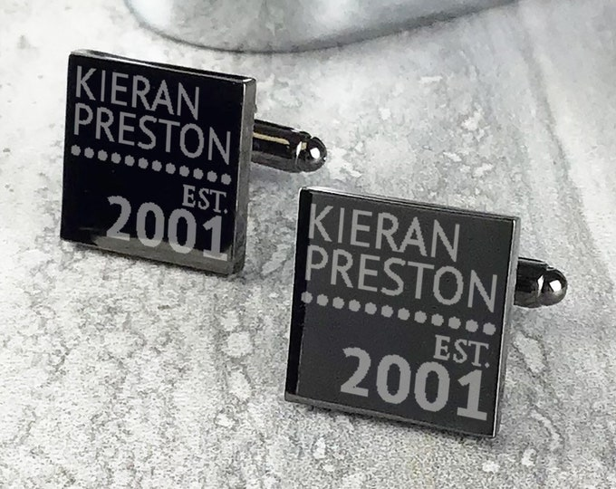 Engraved GROOMSMAN cufflinks wedding groomsmen gift, personalised custom polished gun metal grey cufflinks - GMS-ES