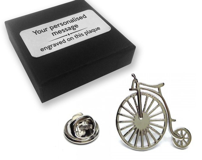 Penny farthing, vintage, bicycle, lapel pin badge, tie pin, brooch accessory, boutonniere - personalised engraved gift box - 463