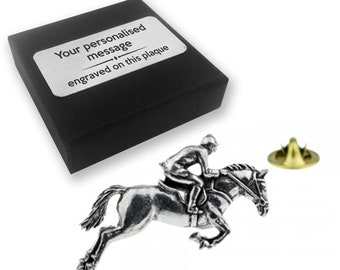 Horse rider horse racing jockey equestrian gift, lapel pin badge, tie pin, brooch accessory - personalised engraved gift box - 29