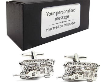 Military army tank war game themed novelty CUFFLINKS gift, presentation box PERSONALISED customized ENGRAVED plate - 212