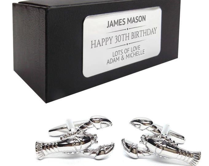 Lobster fishing sea crayfish CUFFLINKS birthday gift, presentation box personalised ENGRAVED plate - 023