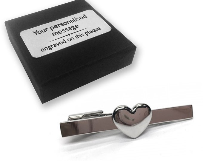 Love, heart, valentines, romance, TIE CLIP, tie tac, personalised ENGRAVED novelty birthday christmas wedding gift - 127