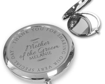 Personalised engraved MOTHER of the GROOM compact mirror gift, handbag pocket mirror Push button, deluxe - PBWD7