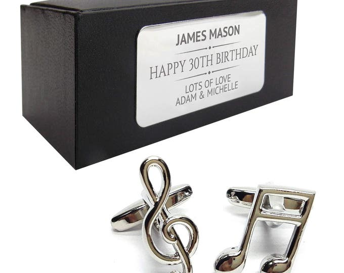 Music note treble clef CUFFLINKS gift, personalised engraved cuff link box - 011