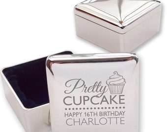 Engraved 16TH BIRTHDAY square shaped trinket box gift, silver plated - Pretty as a cupcake  - PRE16