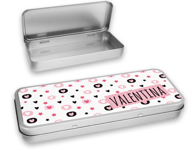Personalised PENCIL TIN case, hinged lids, hearts design - NSTPC57