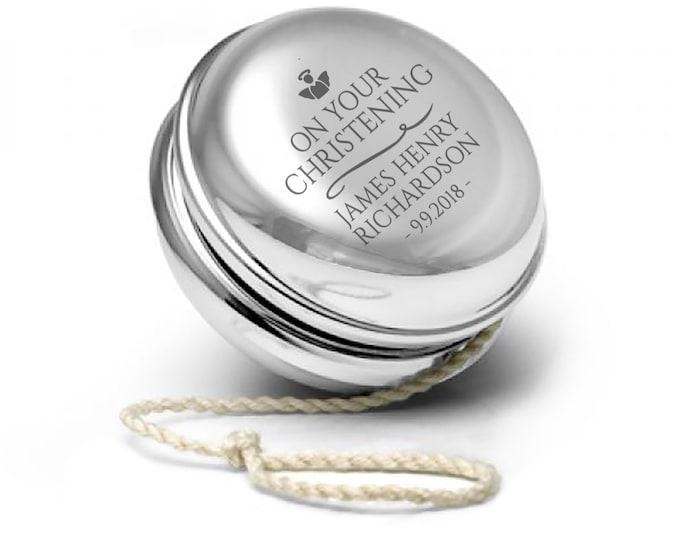 Engraved SILVER PLATED yoyo yo-yo christening, baptism, confirmation personalised gift - YO-CHR2