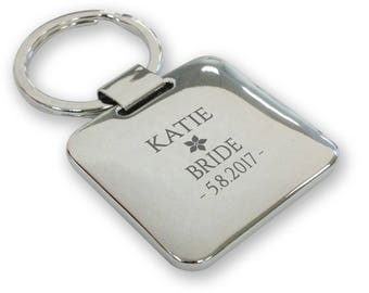 Personalised engraved BRIDE wedding keyring gift, silver plated deluxe pillow square keyring - SQU20
