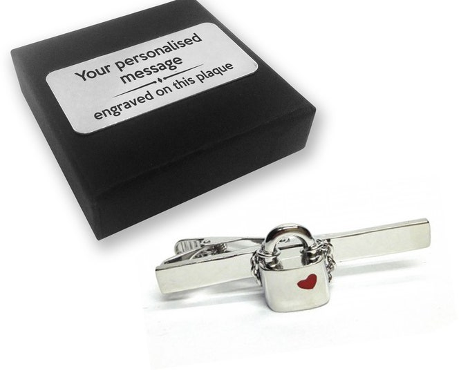 Love lock, padlock, love, heart, TIE CLIP, tie tac, personalised ENGRAVED novelty birthday christmas wedding gift - 113
