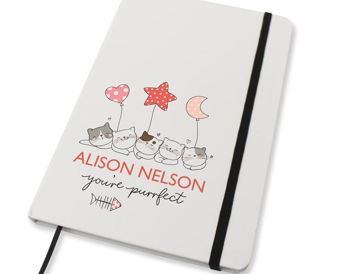 Personalised A5 notebook family gift idea, Cat lover gift, You're Purrfect - NA5W-CT3