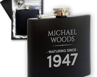 Personalised engraved 70TH BIRTHDAY hip flask gift idea, black coated stainless steel presentation box, maturing since 1947 - LMAT70