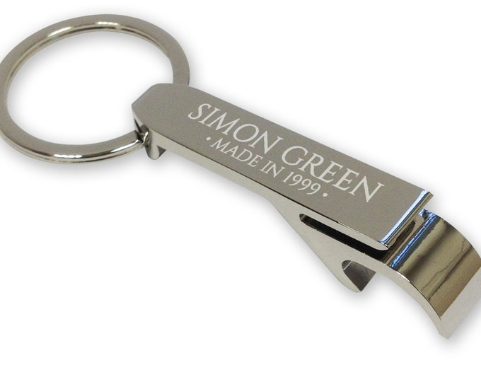 Personalised engraved 18th birthday BOTTLE OPENER keyring gift idea - silver plated  - BT18