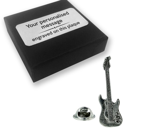 Electric guitar, instrument, music, PEWTER, lapel pin badge, tie pin, brooch accessory, boutonniere - personalised engraved gift box - 126