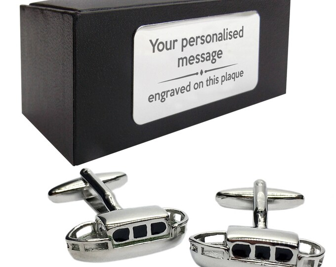 Canal narrowboat boat themed novelty CUFFLINKS gift, presentation box personalised ENGRAVED customized plate - 479