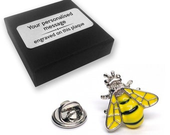 Bee, wasp, bee keeper, lapel pin badge, tie pin, brooch accessory, boutonniere - personalised engraved gift box - 313