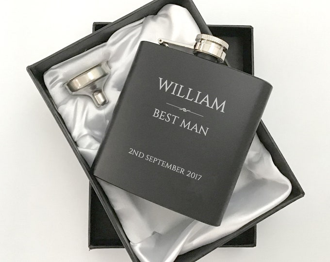 Personalised engraved BEST MAN hip flask WEDDING gift idea, black coated stainless steel presentation box - RET1