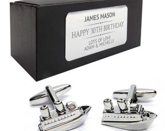 Cruise liner boat bon voyage CUFFLINKS birthday gift, presentation box PERSONALISED ENGRAVED plate - 046