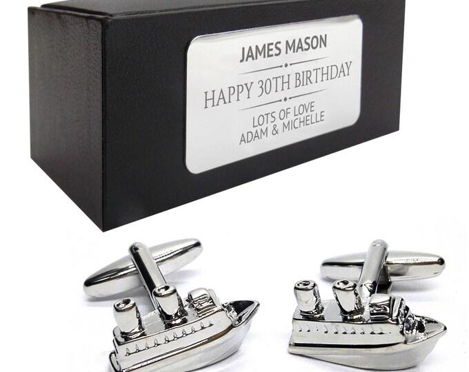 Cruise liner boat bon voyage CUFFLINKS birthday gift, presentation box PERSONALISED ENGRAVED plate - 046