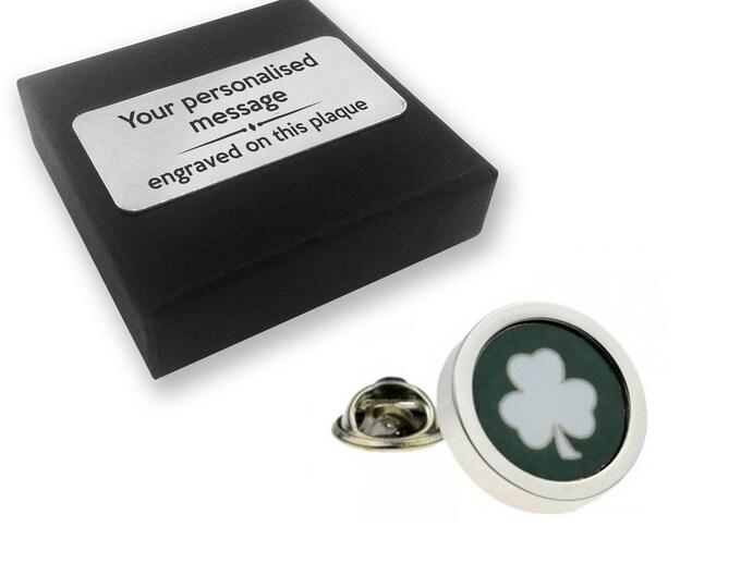 Irish shamrock St Patricks lapel pin badge, tie pin, brooch accessory, boutonniere - personalised engraved gift box - 017s