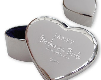 Personalised engraved MOTHER OF the BRIDE heart shaped trinket box wedding thank you gift idea  - TRW10