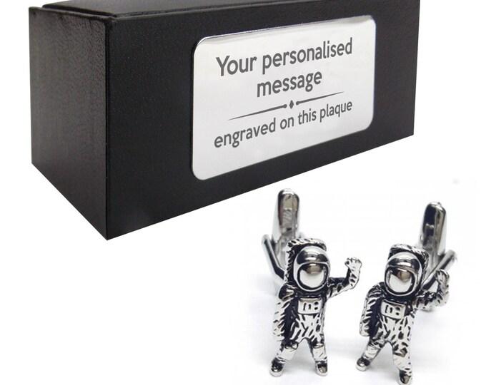 Astronaut space CUFFLINKS gift, personalised engraved cufflink box - 466