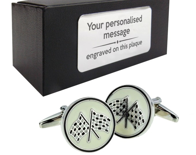 Racing flags F1 motor racing driver CUFFLINKS gift, personalised engraved cufflink box - 225
