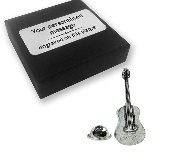 Acoustic guitar, instrument, music, PEWTER, lapel pin badge, tie pin, brooch accessory, boutonniere - personalised engraved gift box - 124